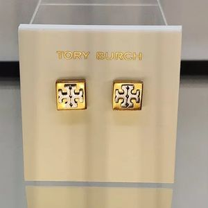 Tory Burch Double Logo Two-Tone earrings w/pouch